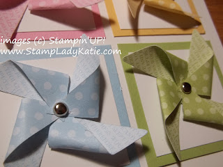 Pinwheels made with Stampin'UP!'s new pinwheel clearlit die.