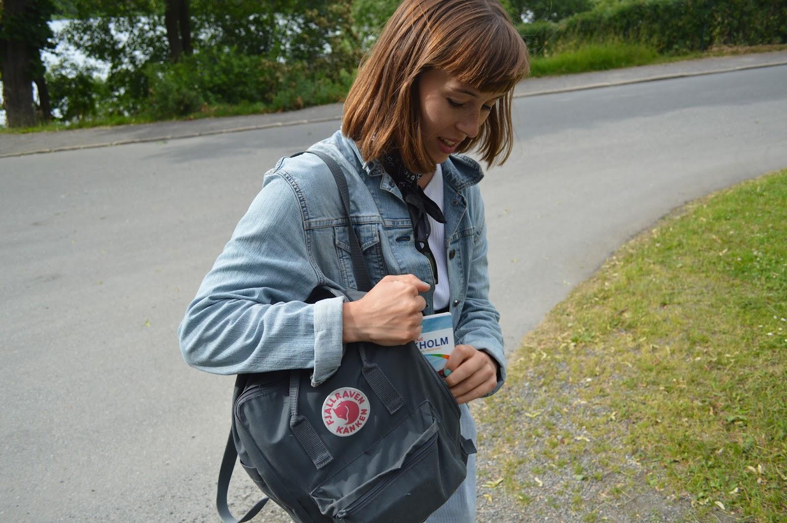 Me in Djurgården park in Stockholm with Kanken rucksack