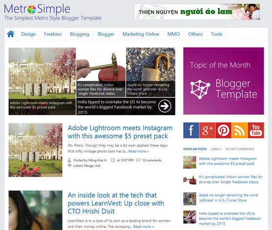 MetroSimple Blogger Template