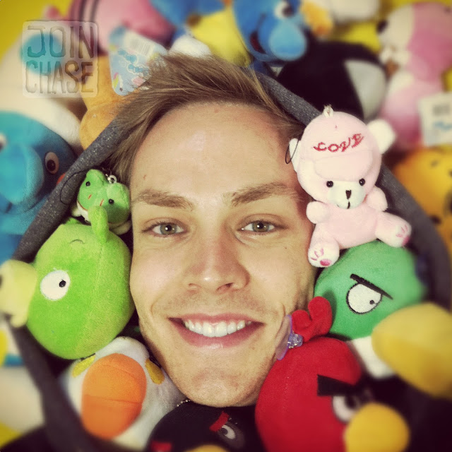 Covered in stuffed animals from claw machines in South Korea.