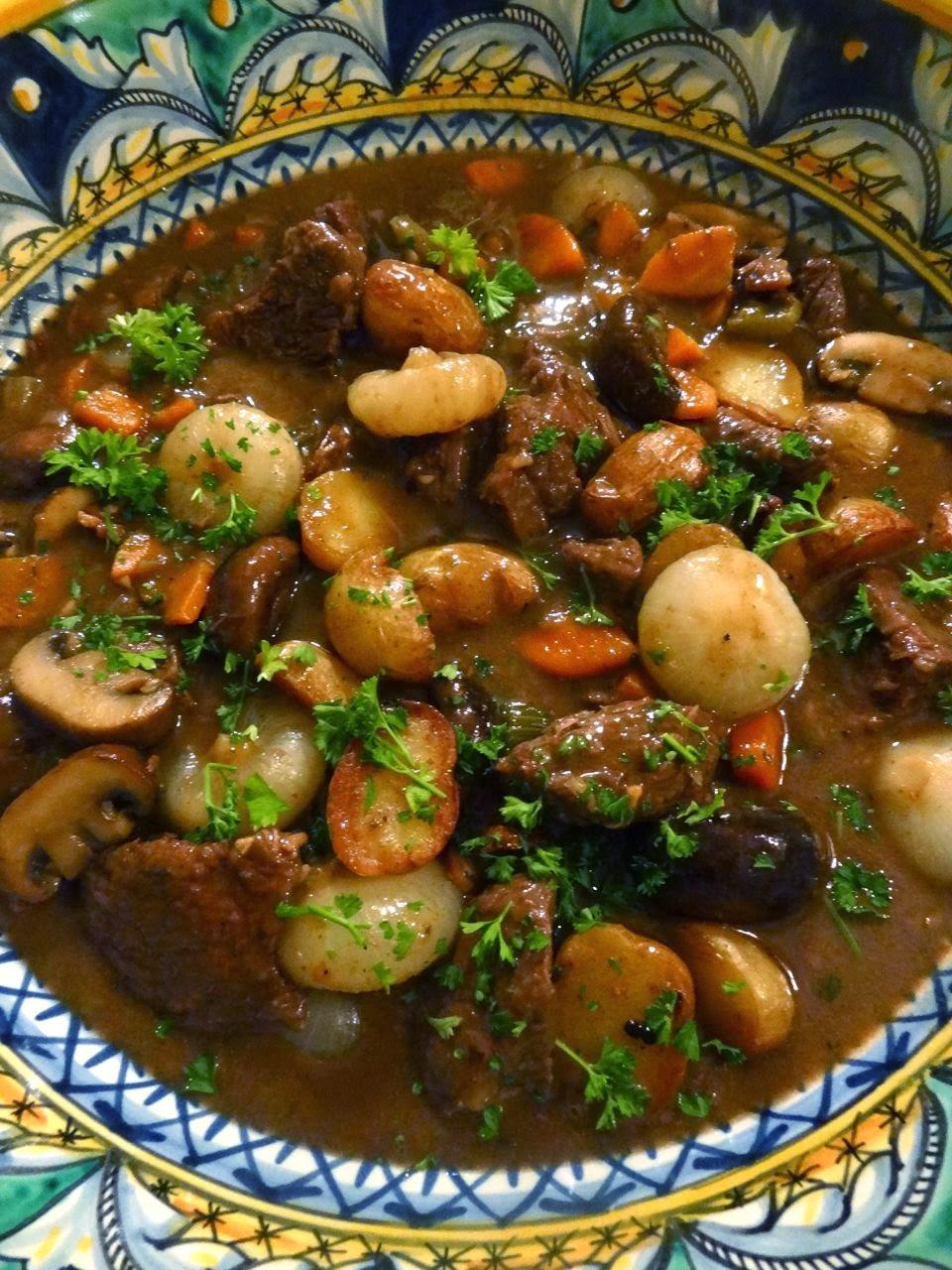 ScrumpdillyiciousBraised Beef  Mushroom Stew with Cipollini Onions
