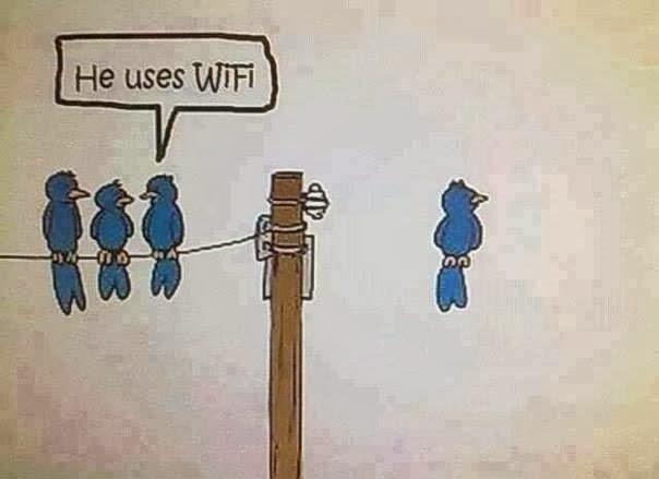 he uses wi fi