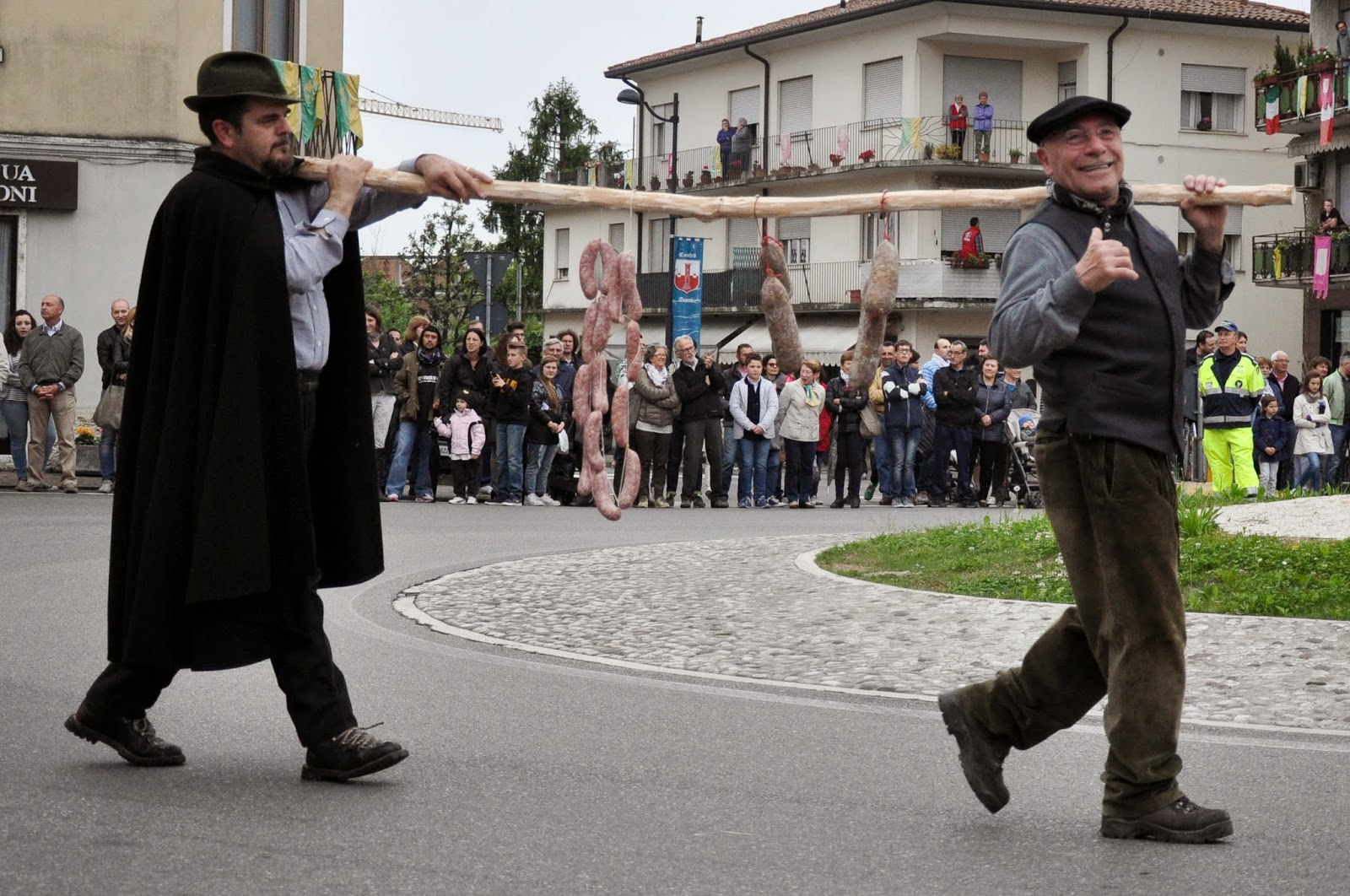 The sasauge bearers at the Parade, Donkey Race, Romano d'Ezzelino, Veneto, Italy