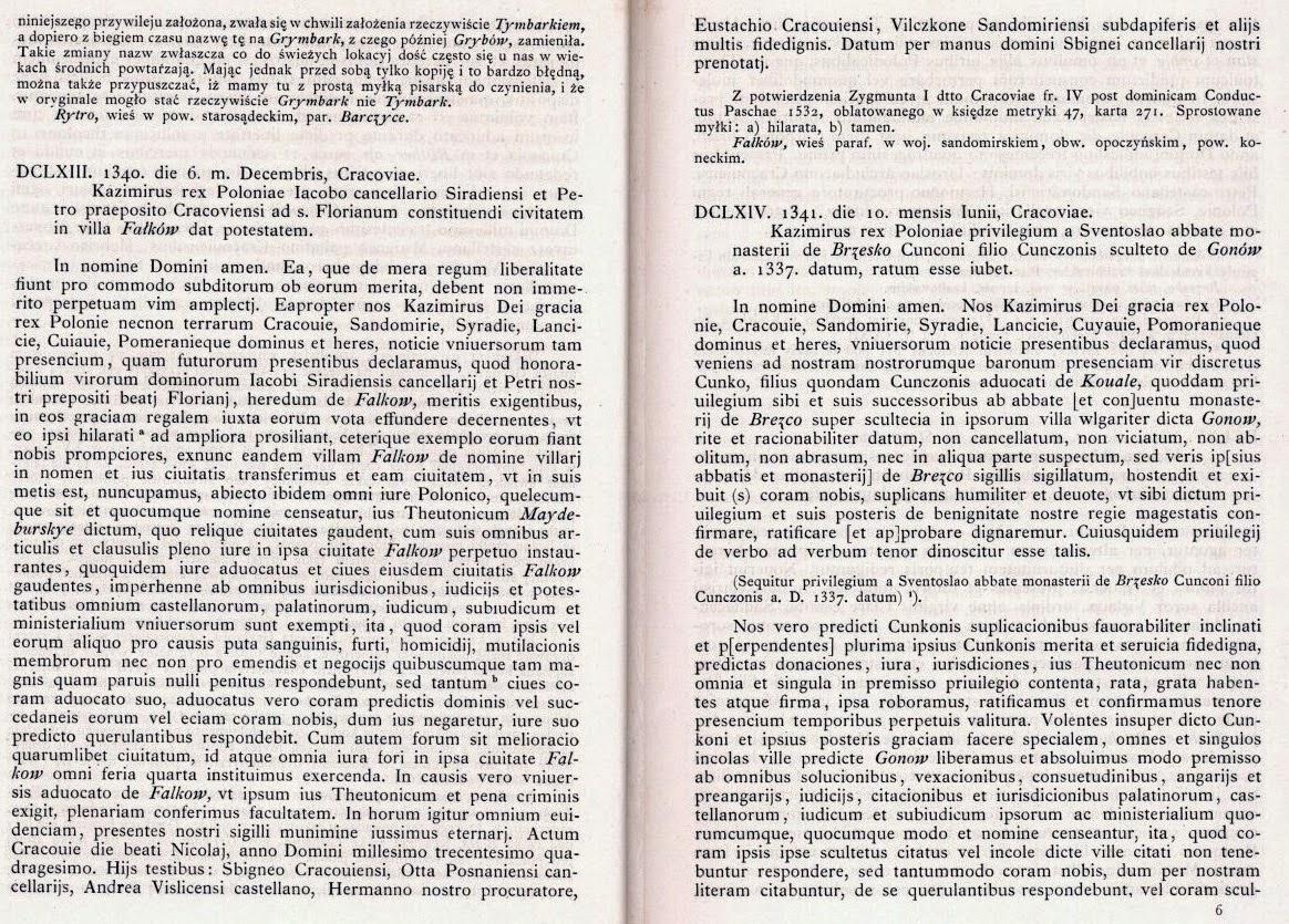 Akt nadania praw miejskich dla Fałkowa z 6.12.1340 r. Źródło: Kodeks Dyplomatyczny Małopolski, T.III, nr 663, Kraków 1887, s. 40-41.
