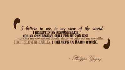 I believe in me, in my view of the world. I believe in my responsibility   for my own destiny, guilt for my own sins, merit for my own good deeds,  determination of  my own life. I don't believe in miracles. I believe in hard work.