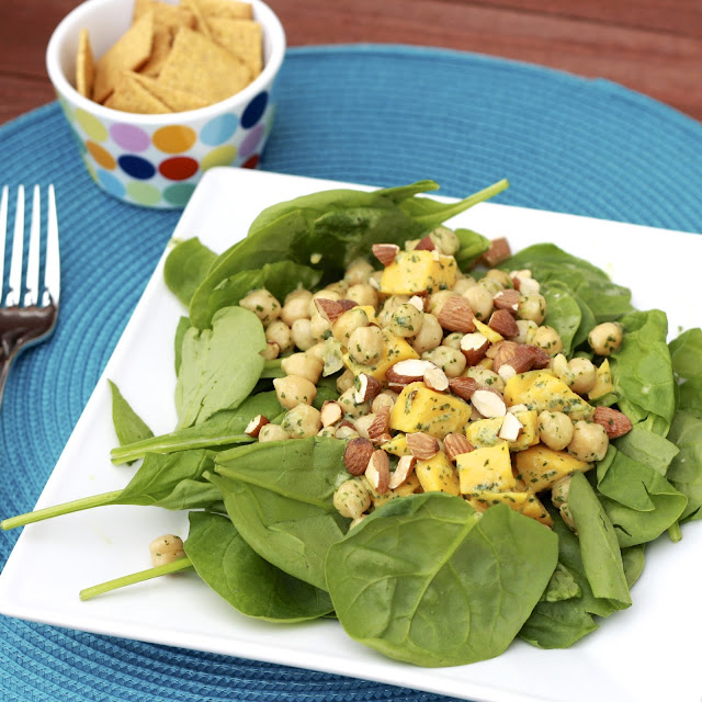 chickpea mango spinach salad