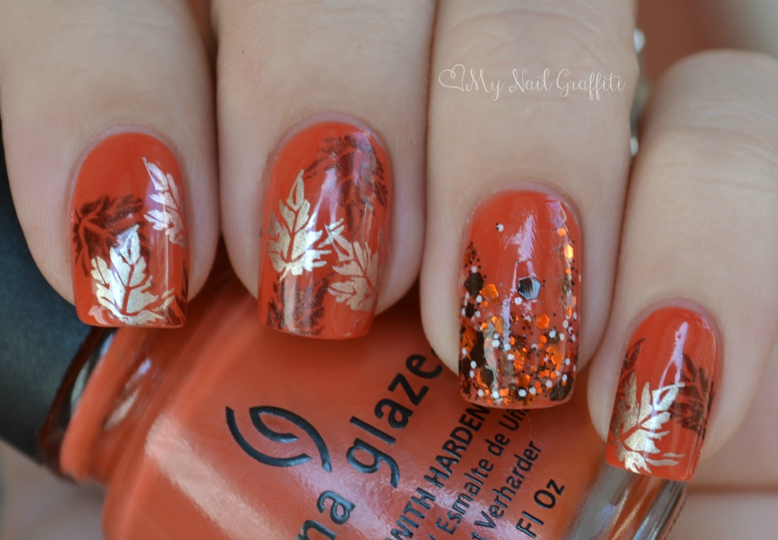 My Nail Graffiti: Fall Nail Art ft. China Glaze Life Preserver