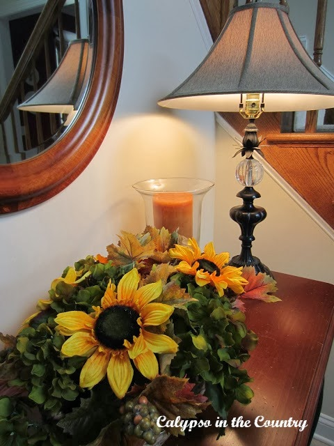 Simple fall decor with sunflowers