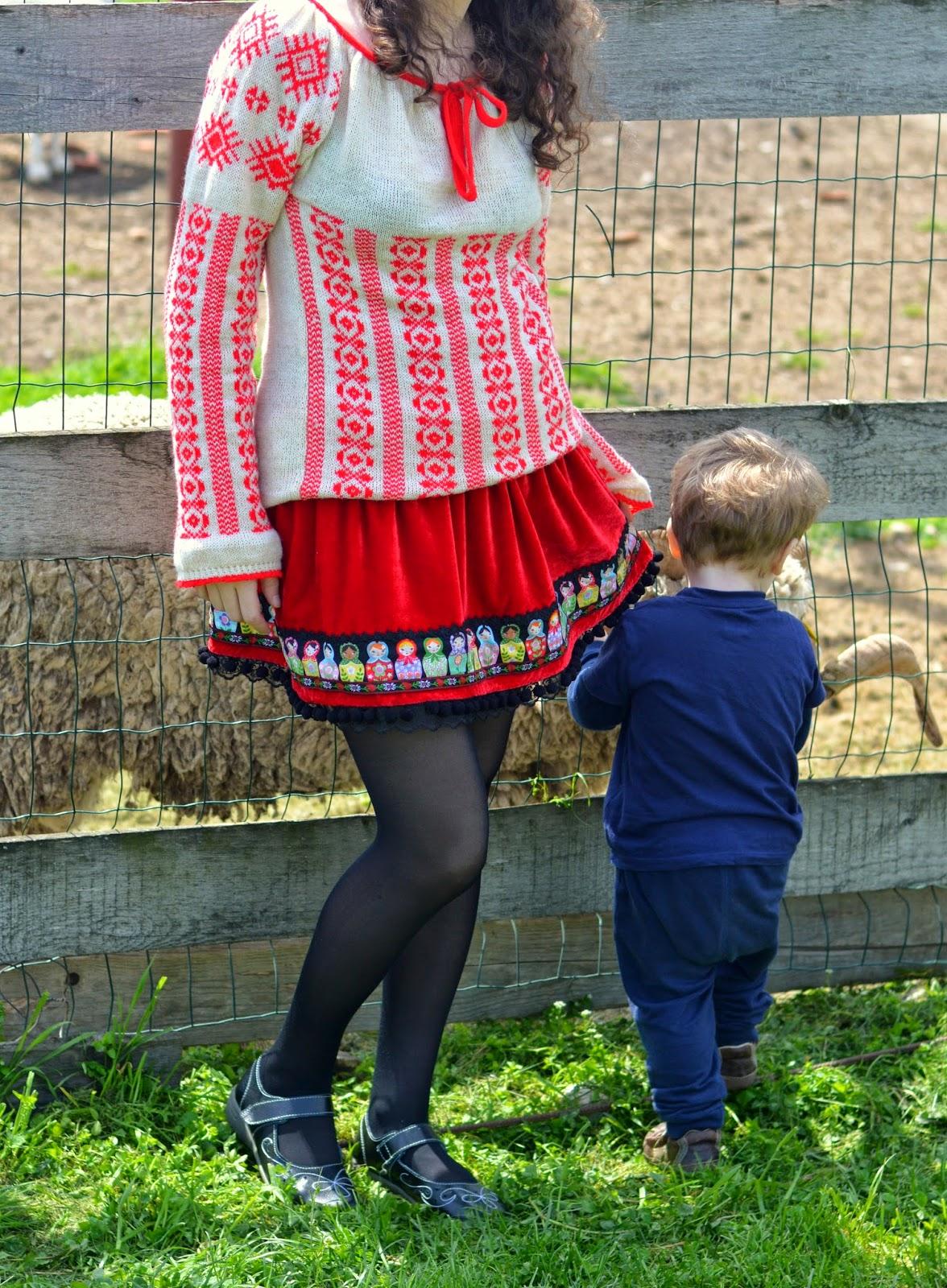 lace tape, matryoshka doll, pom poms tape, red velvet, ribbons applique, skirt, lace hem, ie traditinala romaneasca tricotata
