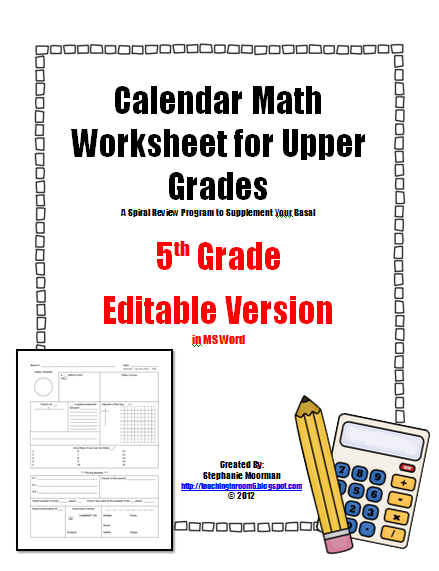 Calendar Math -- the basics - Teaching in Room 6