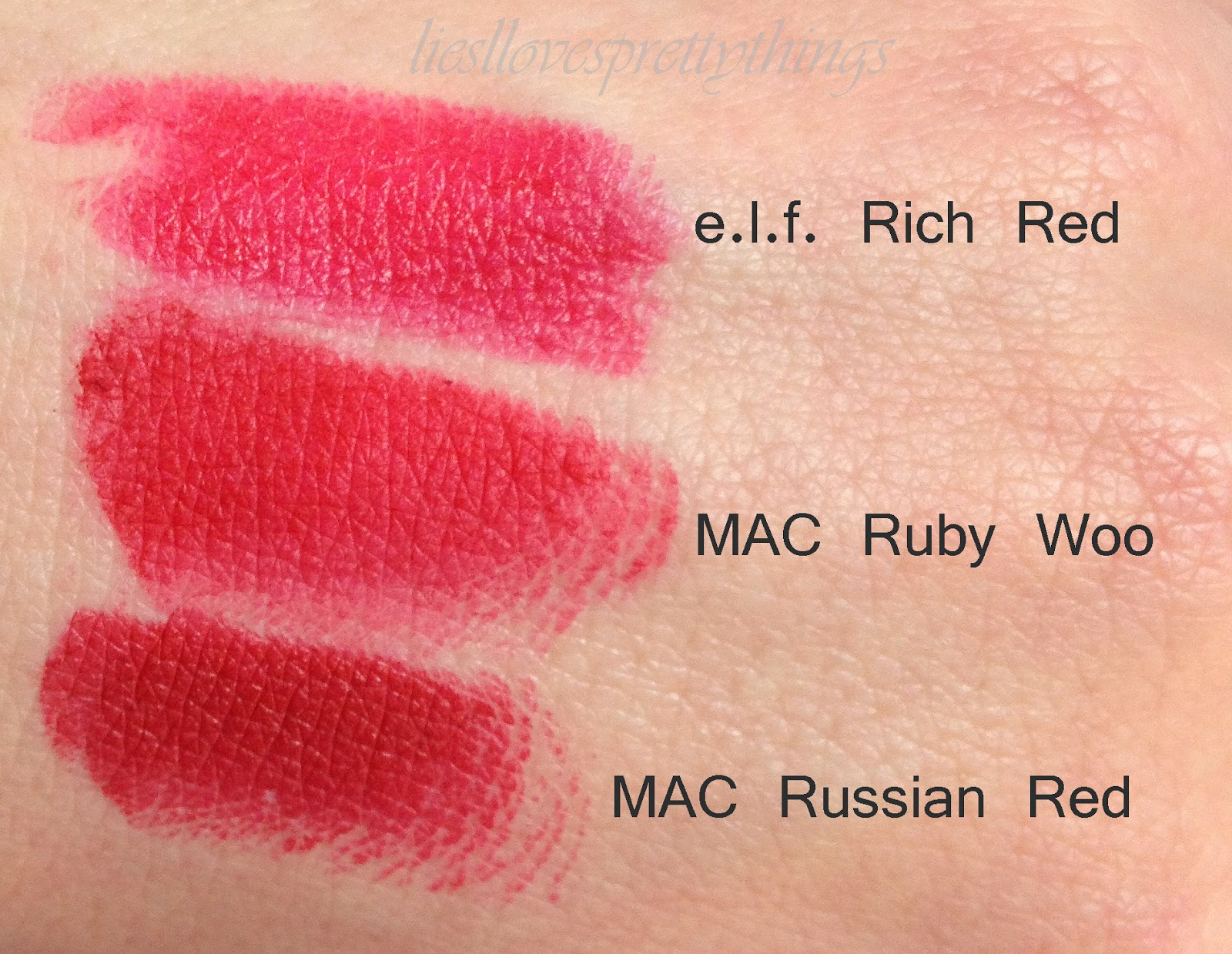 MAC Ruby Woo, MAC Russian Red, and elf Rich Red comparison