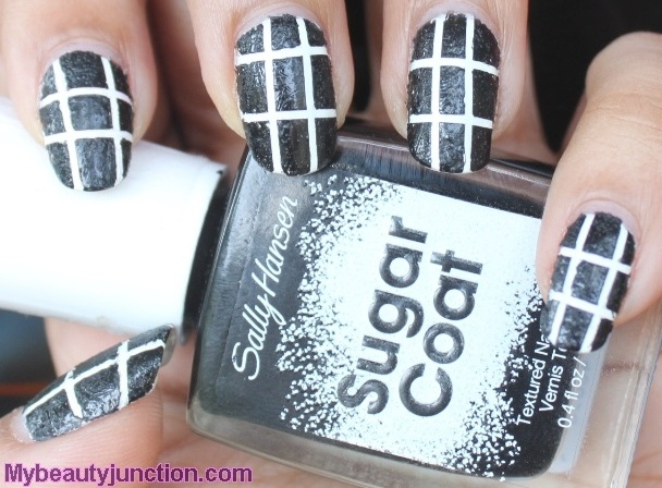 Textured black and white nail art with Sally Hansen Sugar Coat nail polish