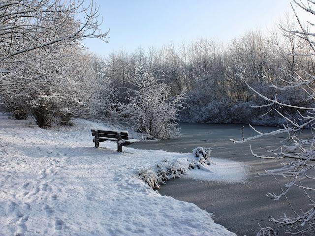 лавочка или скамейка зимой перед водой