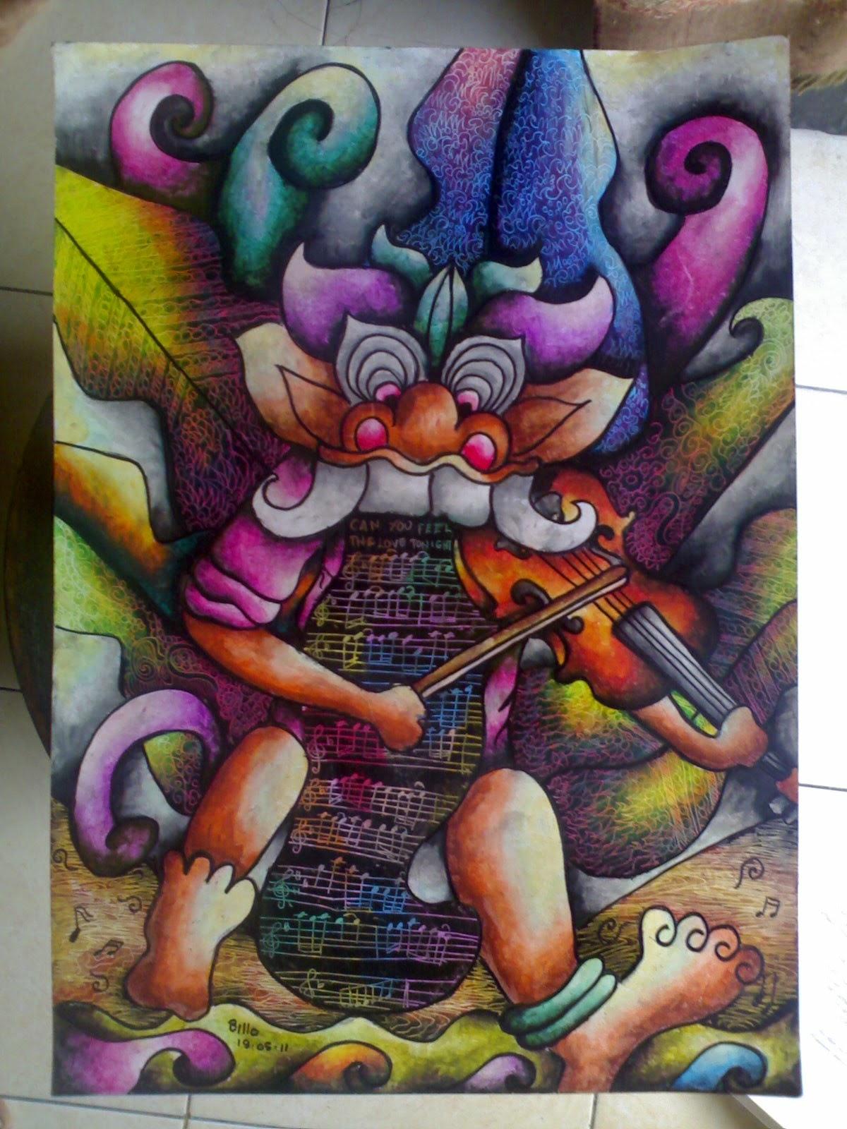 BUTO AND HIS VIOLIN Media Kertas 30x40 cm Crayon Tanggal Pembuatan 19 Mei