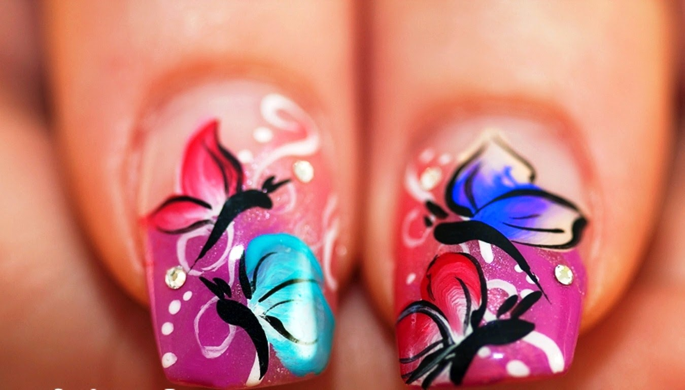 butterfly nails designs 2014, cute nails designs