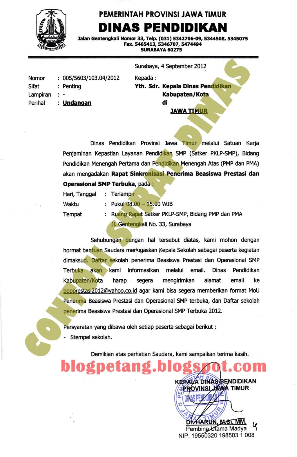 Contoh Surat Dinas Resmi Sekolah Terbaru 2013 | Info Internet
