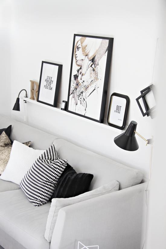 Cuadros detr s del sof decorar tu casa es - Decorar la pared del salon ...