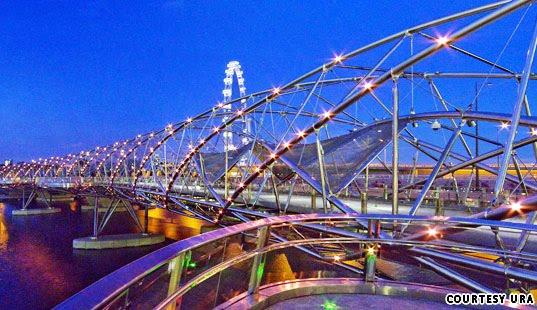 The Helix, Bridge, Double Helix Bridge, Marina Centre, Center, marina south, marina bay, singapore, singapura, Resort Marina Bay Sands, Singapore Flyer, Gardens, 2010, 2012, architecture, mega project, building, photo, under construction