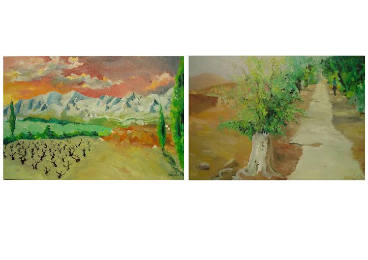 4 diptyques RIF MAROCAIN-PROVENCE. Peintures à l'huile de Segala Benedetta