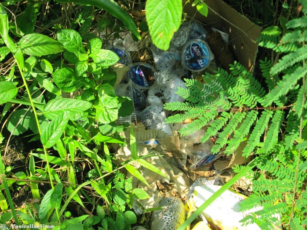 Sampah air mineral diantara semak-semak