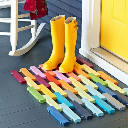 DIY Rainbow Wooden Entry Mat - magrush
