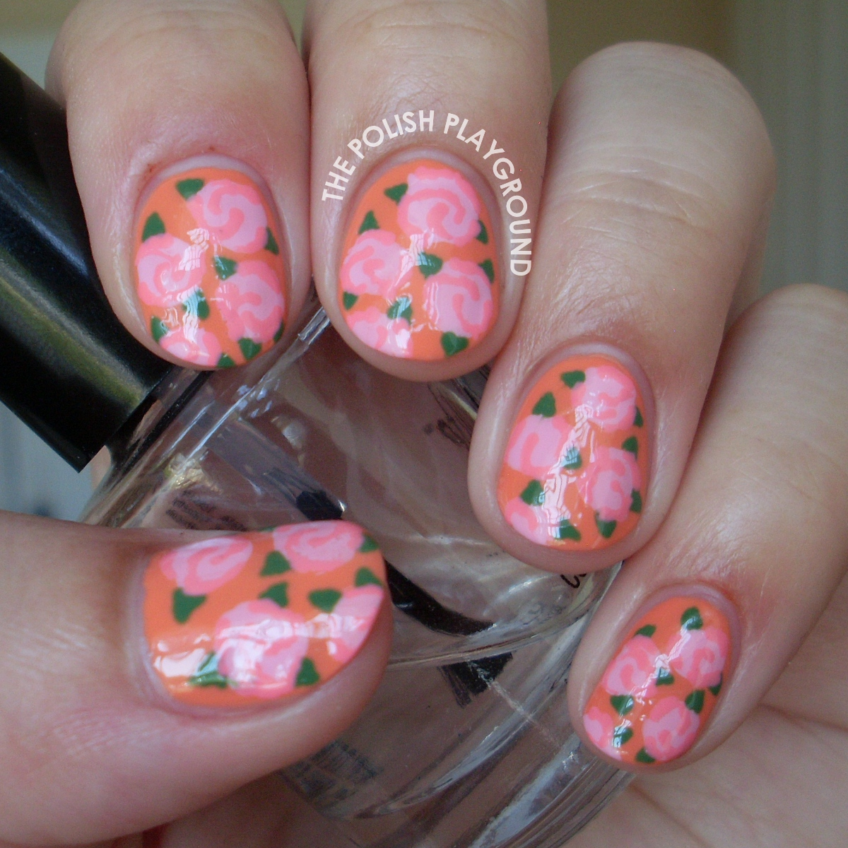 Light Pink Floral Rose Print Nail Art