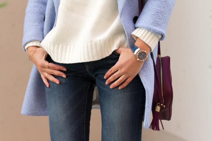 Tendencia relojes de color azul con tejido vaquero