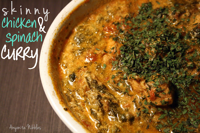Anyonita Nibbles||Skinny chicken & spinach curry with orzo