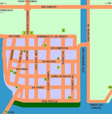 Mapa do centro histórico  Parati