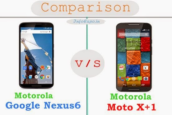 Motorola Google Nexus 6 versus Motorola Moto X+1 specifications and features comparison RAM,Display,Processor,Memory,Battery,camera,connectivity,special feature etc.