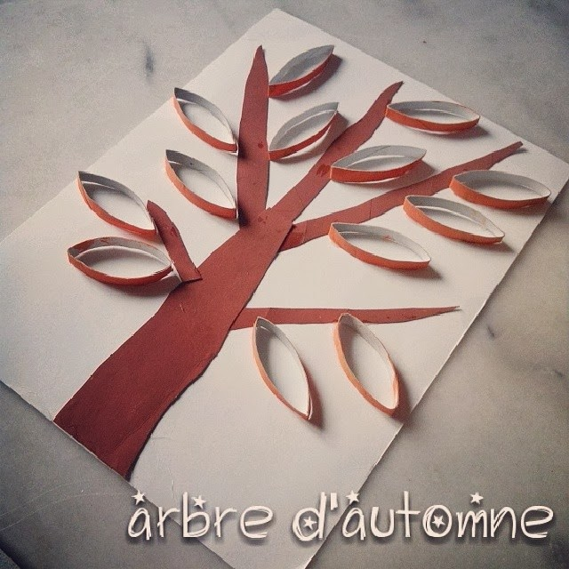 le blog de lorraine arbre d 39 automne en rouleaux de papier. Black Bedroom Furniture Sets. Home Design Ideas