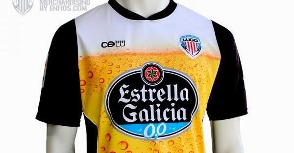 Cerveja e tira-gosto na camiseta do desportivo Lugo