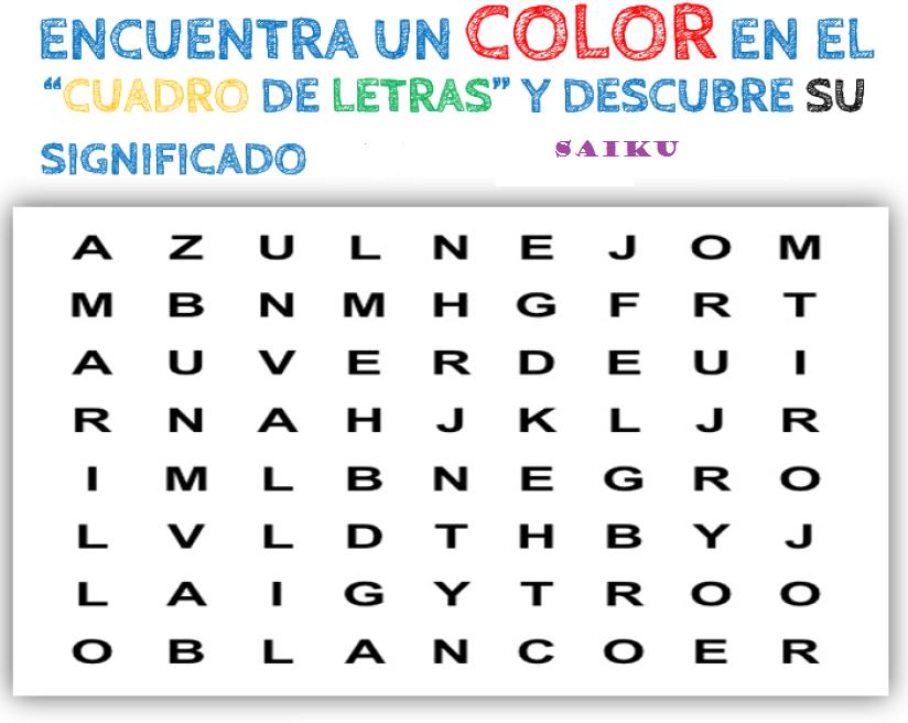 De todo un poco encuentra un color entre las letras y for Significado de cuarto