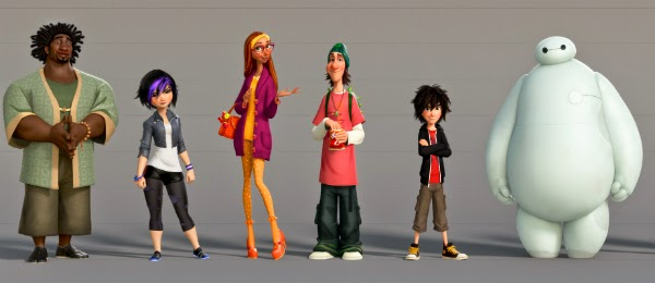 "Neatnik Wasabi, Go Go Tomago, Honey Lemon, Fred, Hiro and Baymax make up ""Big Hero 6."""