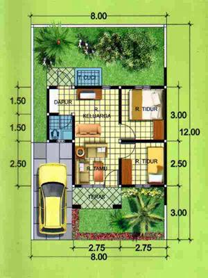 Denah Desain Rumah Minimalis 1 Lantai