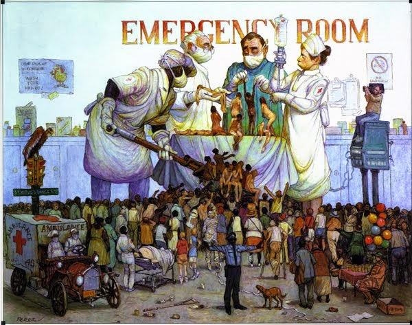 Sala de espera de una sala de urgencias llena de gente