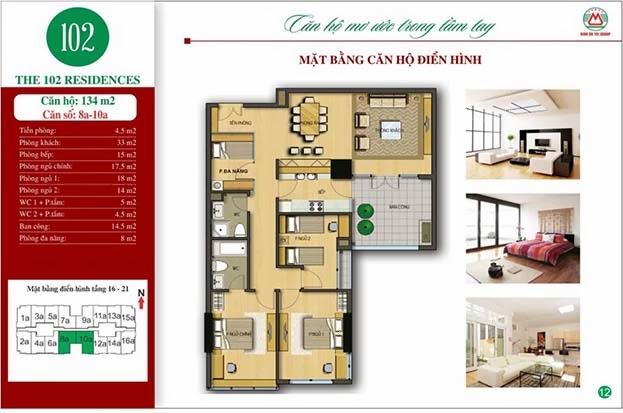 Chung cư 102 Trường Chinh kinh kỳ 134m2 - The 102 Residences