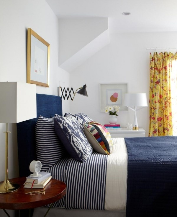 Third floor design studio mixing warm cool tones - Blue white yellow bedroom ...