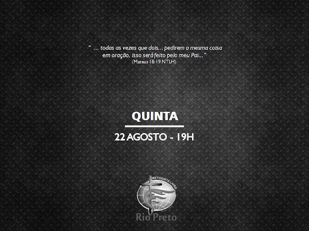 Culto Quinta - 22/08/19 19h