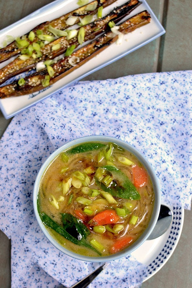 Vegetarian Japanese Miso Noodle Soup