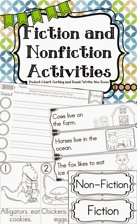 http://www.teacherspayteachers.com/Product/Fiction-and-Nonfiction-Activities-Pocket-Chart-Sort-ReadWrite-the-Room-More-1150978