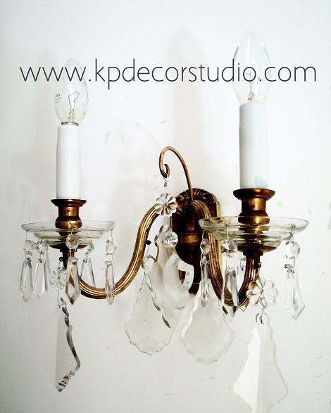 Venta de pareja de apliques vintage antiguos estilo clásico chandelier