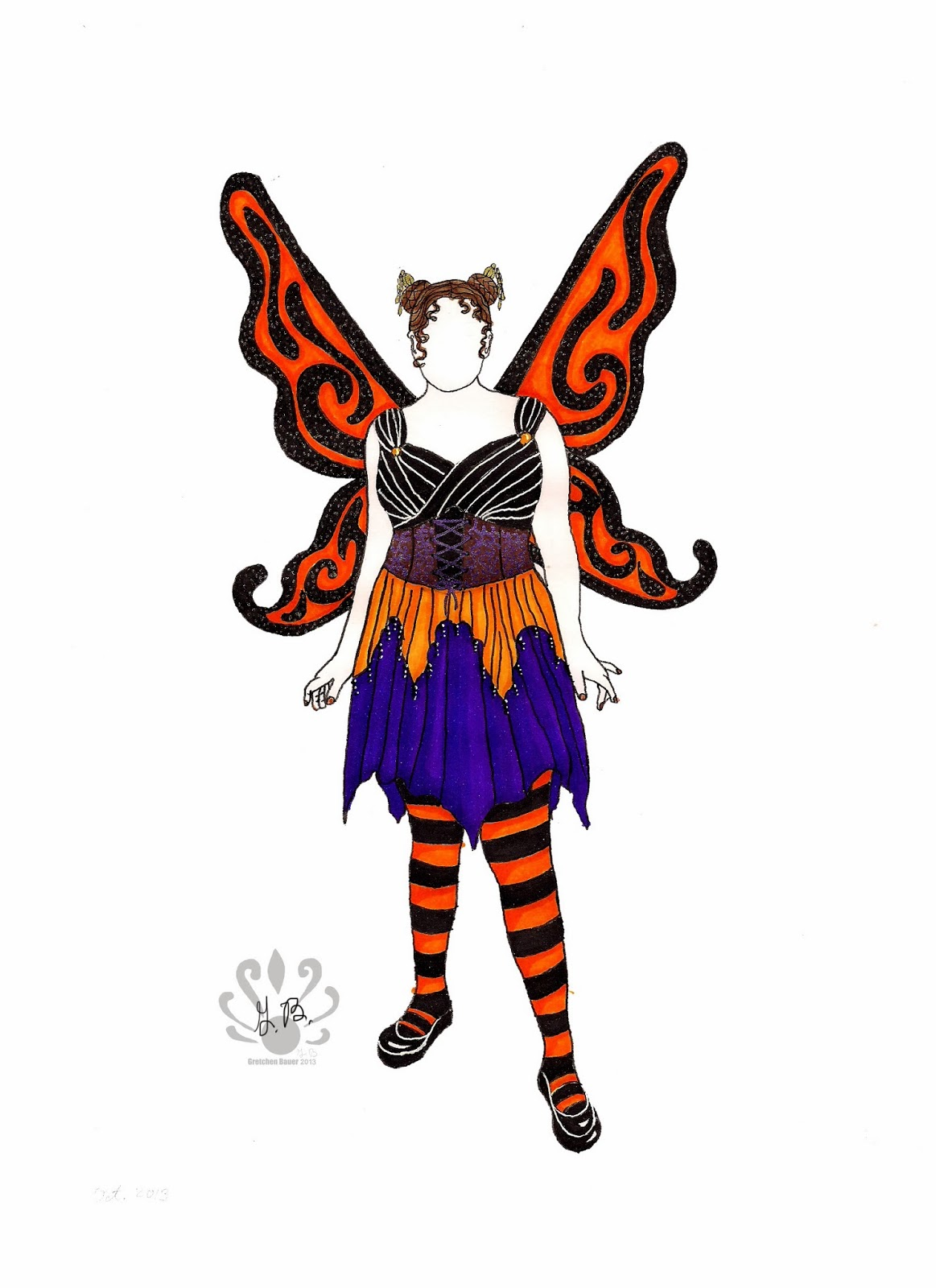 I put a sheet of bleed proof paper over my fashion form outline then drew the design out in pencil first tracing over the form which showed slightly ...  sc 1 st  Pearllight Studio & Pearllight Studio: Autumn Monarch Fairy-costume