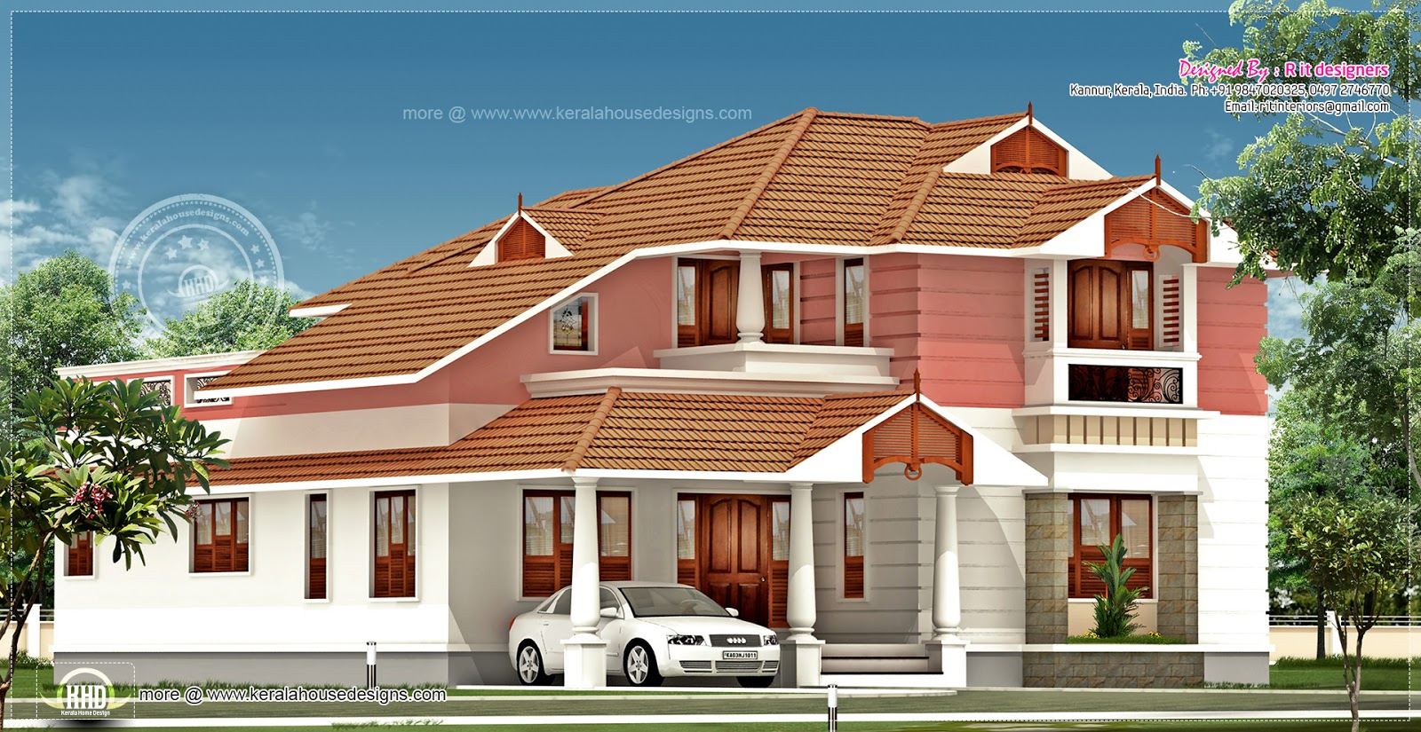 2348 Sq Feet Slanting Roof House Design Plans
