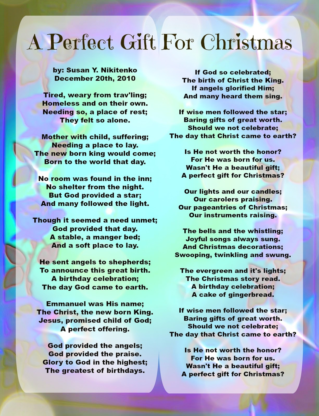 Christian Images In My Treasure Box: Christmas Poem Poster