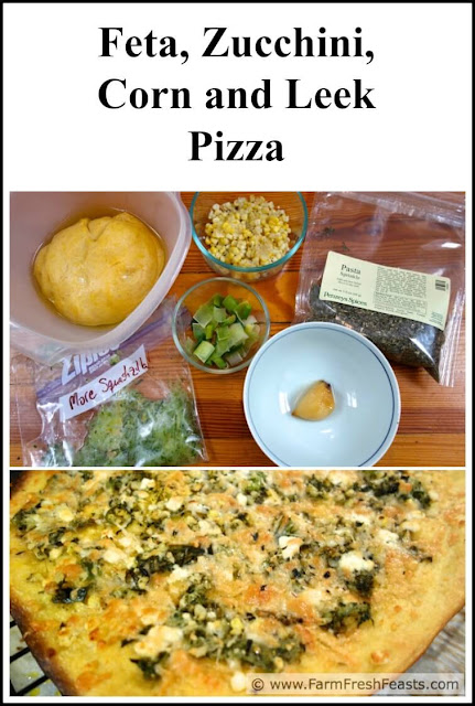 The flavors of a summer vegetarian pizza: shredded zucchini sautéed with leeks and corn then topped with feta cheese on a roasted garlic oil-brushed pizza crust.