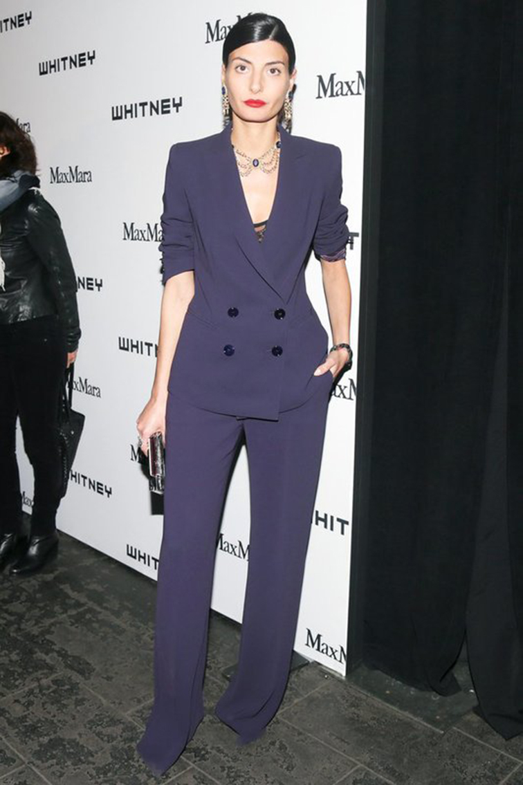 Giovanna Battaglia MaxMara double breasted navy pantsuit