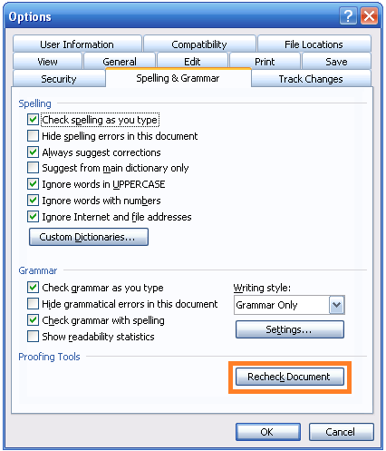 The Dialog Appears Click Spelling And Grammar Tab Recheck Document Button At Bottom Of Then OK
