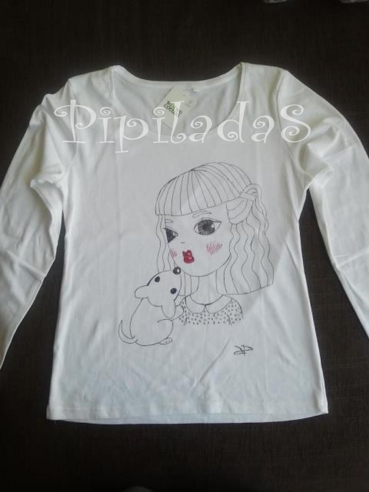 Dibujo niña con perrito en camiseta