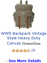 WWII Backpack Vintage Style Heavy Duty Canvas CloseoutZone